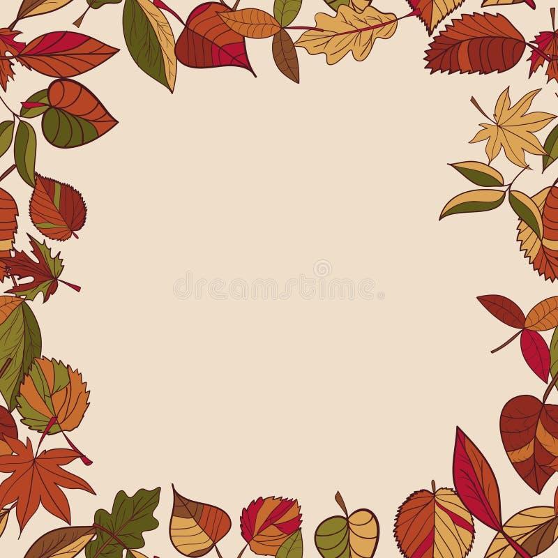 Σχέδιο φθινοπώρου το φθινόπωρο αφήνει το πρότ&up Κόκκινα, κίτρινα και πράσινα φύλλα των δασικών δέντρων πλαίσιο άνευ ραφής Χρήση  ελεύθερη απεικόνιση δικαιώματος