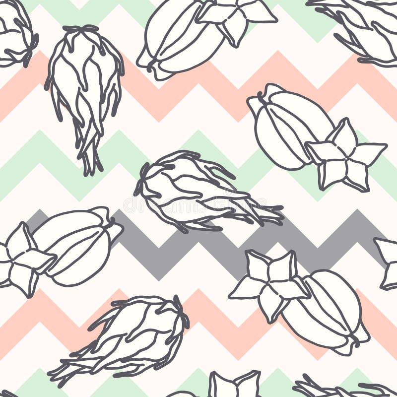 Σχέδιο φρούτων, άνευ ραφής υπόβαθρο με το carambola και illustartion φρούτων δράκων απεικόνιση αποθεμάτων