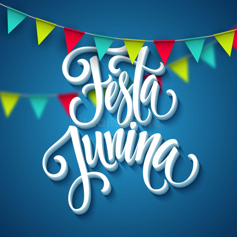 Σχέδιο χαιρετισμού κομμάτων Junina Festa επίσης corel σύρετε το διάνυσμα απεικόνισης απεικόνιση αποθεμάτων
