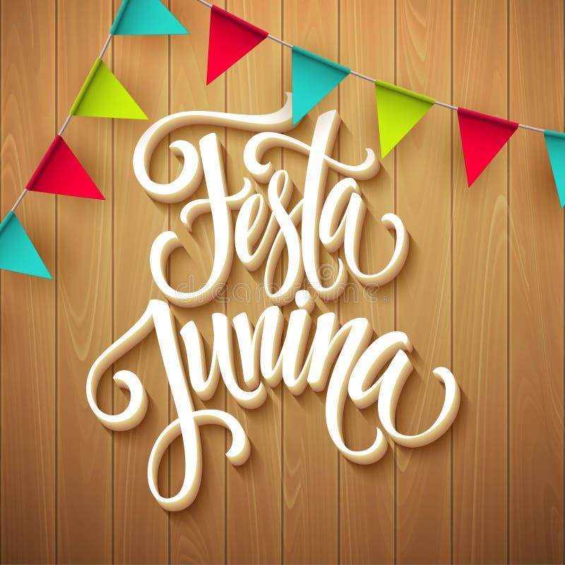 Σχέδιο χαιρετισμού κομμάτων Junina Festa επίσης corel σύρετε το διάνυσμα απεικόνισης ελεύθερη απεικόνιση δικαιώματος