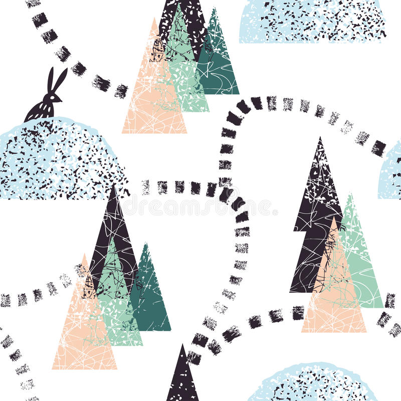 Σχέδιο χειμερινών δασικό ιχνών διανυσματική απεικόνιση