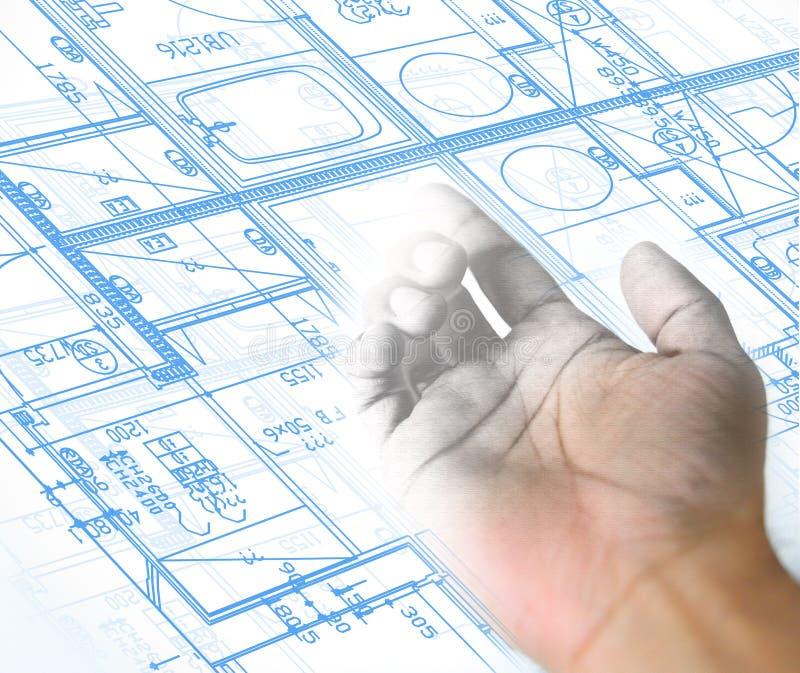 σχέδιο χεριών και αρχιτεκτονικό υπόβαθρο σχεδιαγραμμάτων ελεύθερη απεικόνιση δικαιώματος