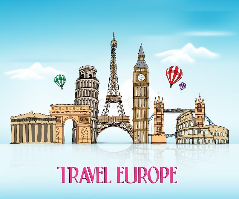 Σχέδιο χεριών της Ευρώπης ταξιδιού με τα διάσημα ορόσημα απεικόνιση αποθεμάτων
