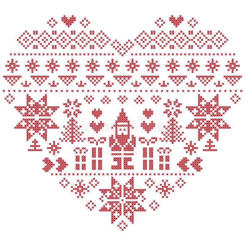 Σχέδιο Χριστουγέννων μορφής καρδιών με Άγιο Βασίλη στο άσπρο υπόβαθρο διανυσματική απεικόνιση