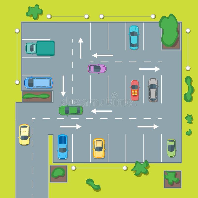 Σχέδιο χώρων στάθμευσης με το αυτοκίνητο και το βέλος διάνυσμα διανυσματική απεικόνιση