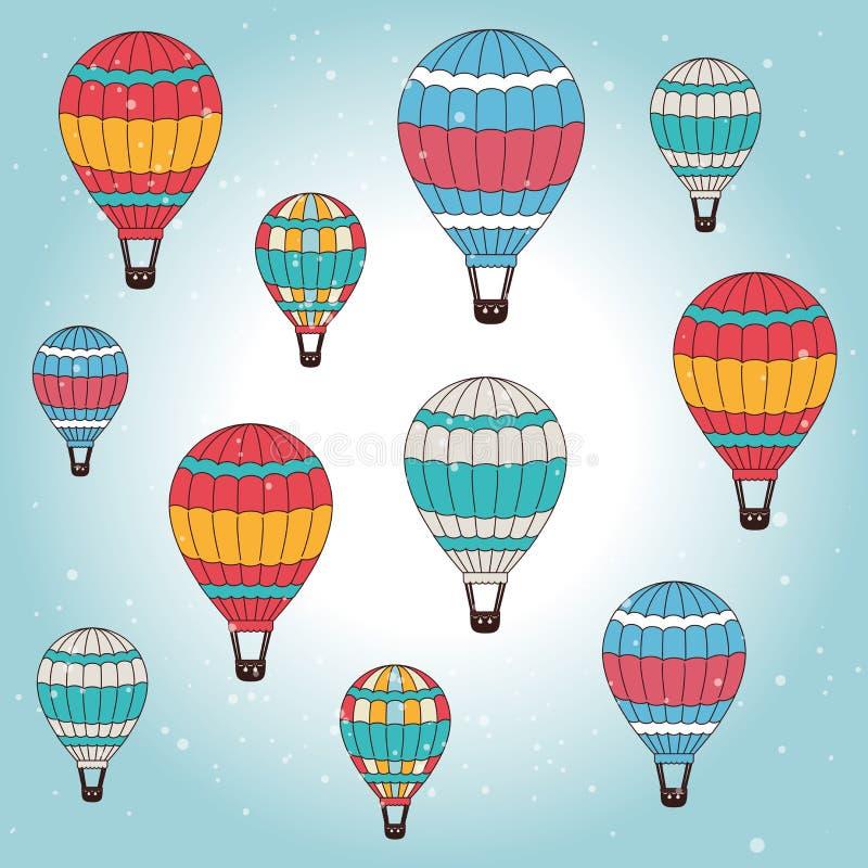 Σχέδιο Airballoon πέρα από την απεικόνιση backgroundvector cloudscape απεικόνιση αποθεμάτων