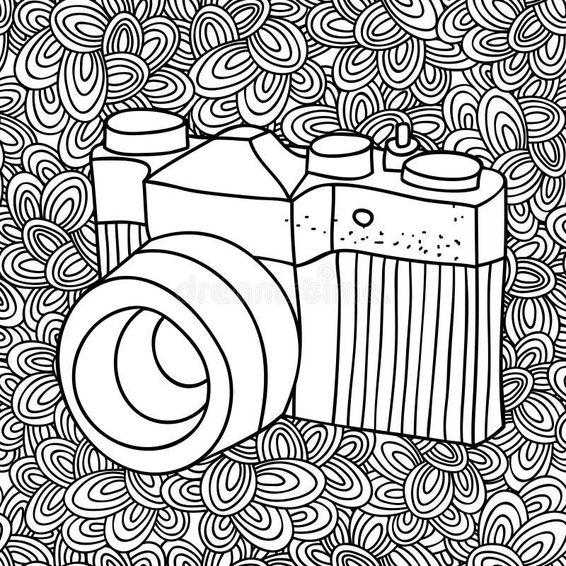 Σχέδιο Doodle με τη γραπτή εικόνα καμερών φωτογραφιών για το χρωματισμό ελεύθερη απεικόνιση δικαιώματος