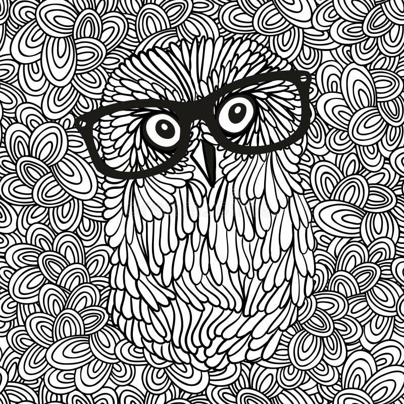 Σχέδιο Doodle με τη γραπτή εικόνα κουκουβαγιών hipster για το χρωματισμό διανυσματική απεικόνιση