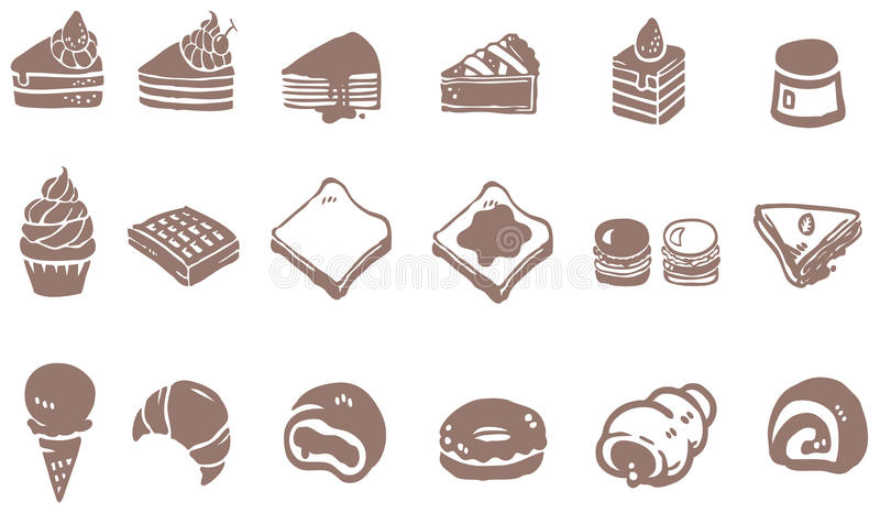 Σχέδιο Doodle του γλυκού και της καραμέλας επιδορπίων όπως το κέικ cheesecak ελεύθερη απεικόνιση δικαιώματος