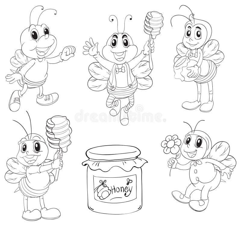 Σχέδιο Doodle των μελισσών ελεύθερη απεικόνιση δικαιώματος
