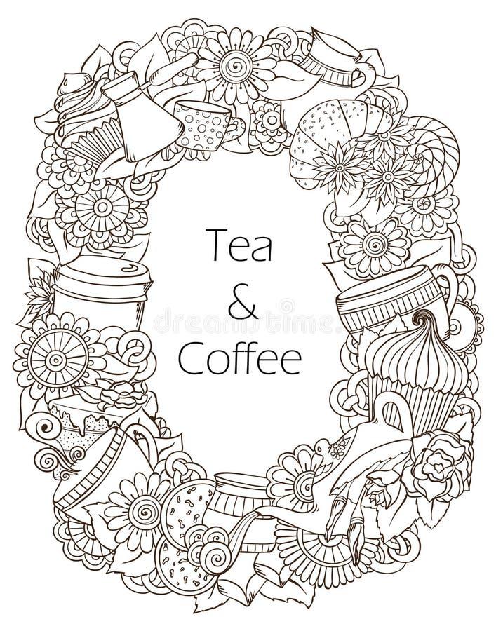Σχέδιο Doodles σκίτσων καφέ και τσαγιού διανυσματική απεικόνιση