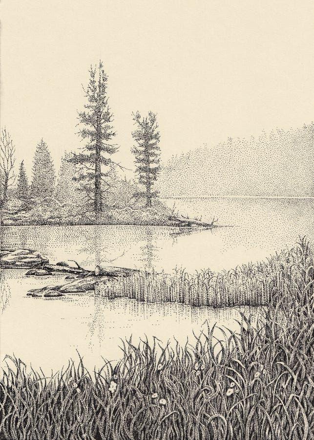 Σχέδιο Dotwork Υδρονέφωση πρωινού πέρα από τη λίμνη διανυσματική απεικόνιση