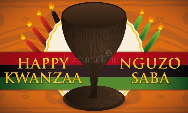 Σχέδιο Kwanzaa με το παραδοσιακές φλυτζάνι, τα κεριά, την ετικέτα και τη σημαία, διανυσματική απεικόνιση απεικόνιση αποθεμάτων