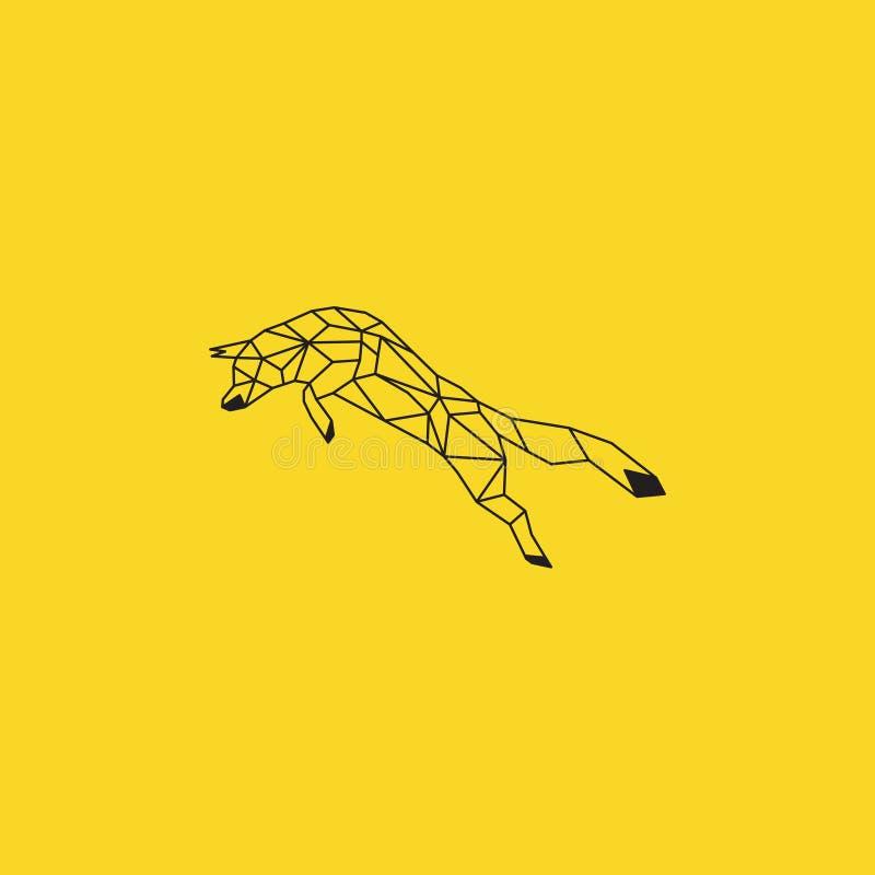 Σχέδιο origami αλεπούδων Μαύρο διάνυσμα χρώματος με το κίτρινο υπόβαθρο στοκ εικόνα