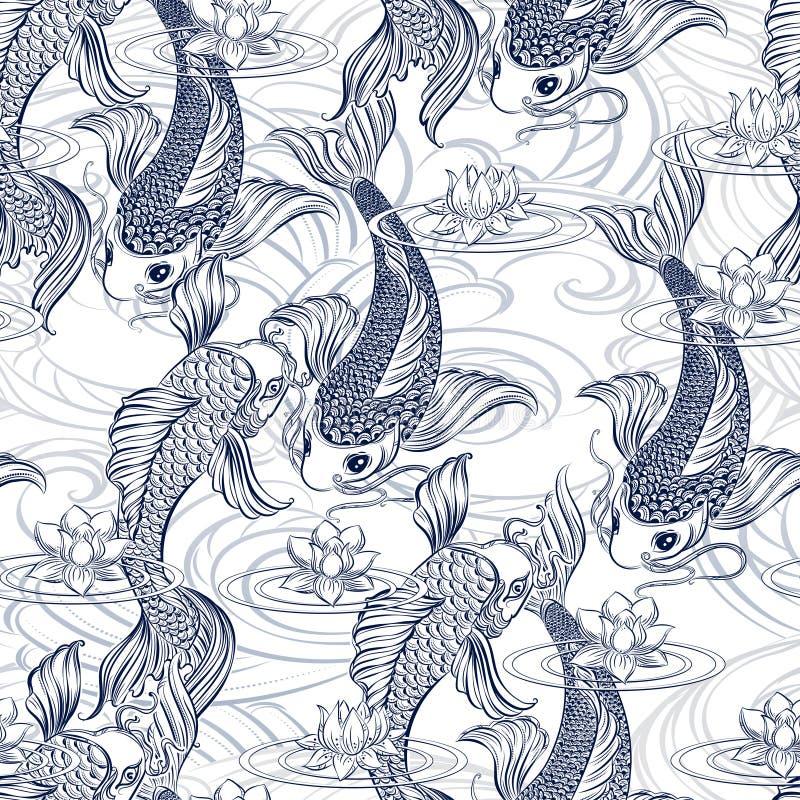 Σχέδιο tatoo κυπρίνων Koi διανυσματική απεικόνιση