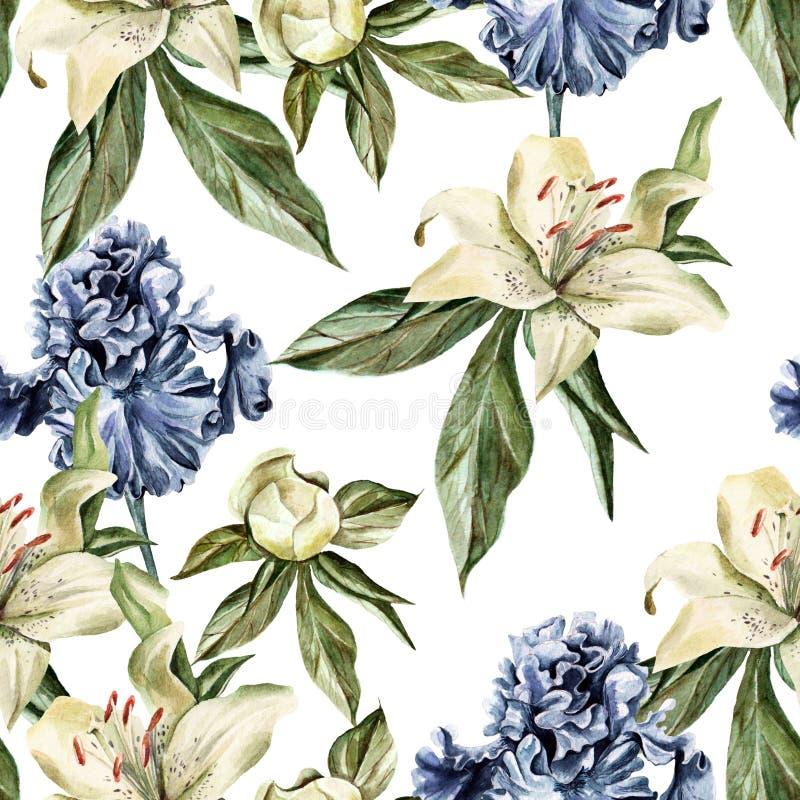 Σχέδιο Watercolor με την ίριδα, peonies και τους κρίνους, τους οφθαλμούς και τα πέταλα λουλουδιών διανυσματική απεικόνιση