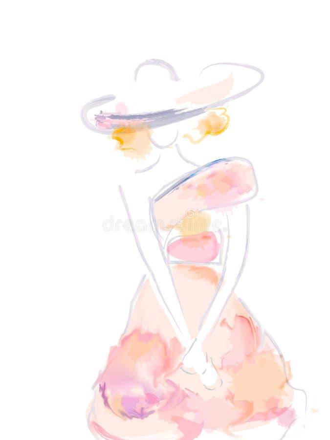 Σχέδιο Watercolor μιας νέας γυναίκας απεικόνιση αποθεμάτων