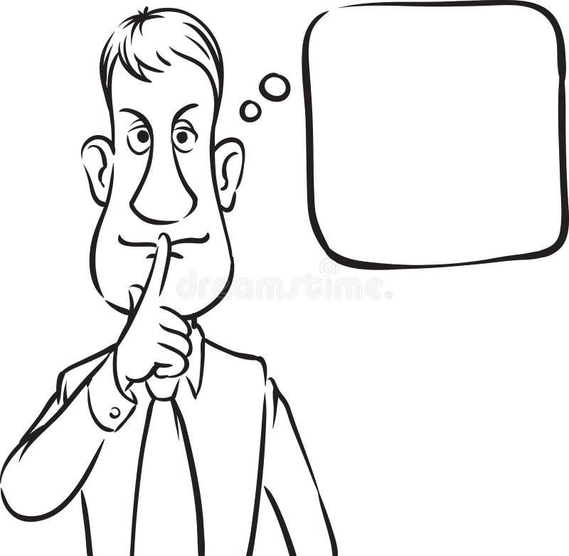 Σχέδιο Whiteboard - δάχτυλο φυσαλίδων επιχειρηματιών with_speech στο λι διανυσματική απεικόνιση
