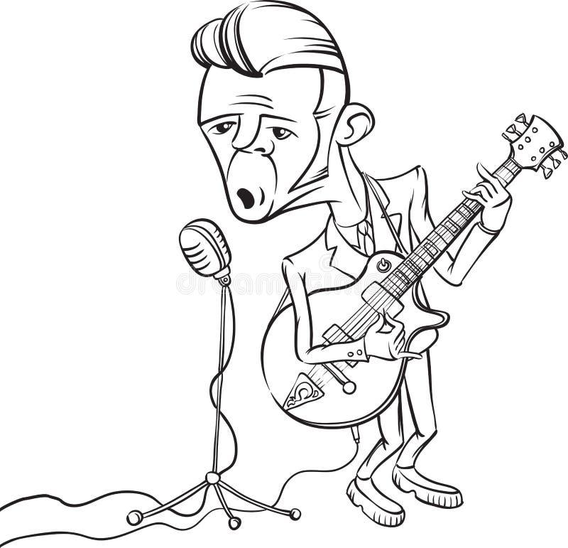 Σχέδιο Whiteboard - βράχος - και - τραγούδι κιθαριστών ρόλων στο micropho ελεύθερη απεικόνιση δικαιώματος