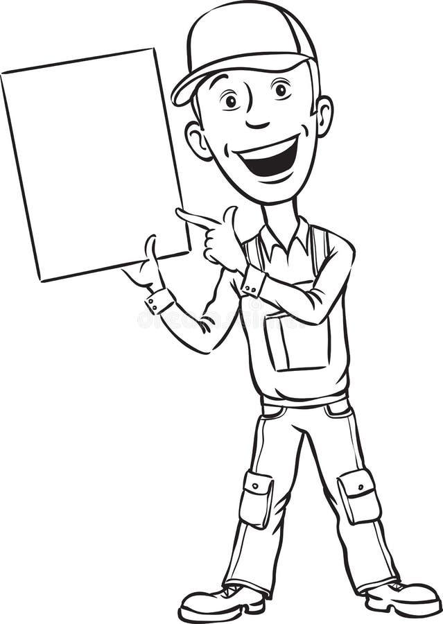 Σχέδιο Whiteboard - επισκευαστής που δείχνει στην κενή αφίσσα διανυσματική απεικόνιση