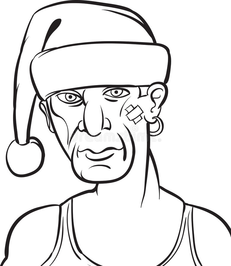 Σχέδιο Whiteboard - κακό Santa διανυσματική απεικόνιση
