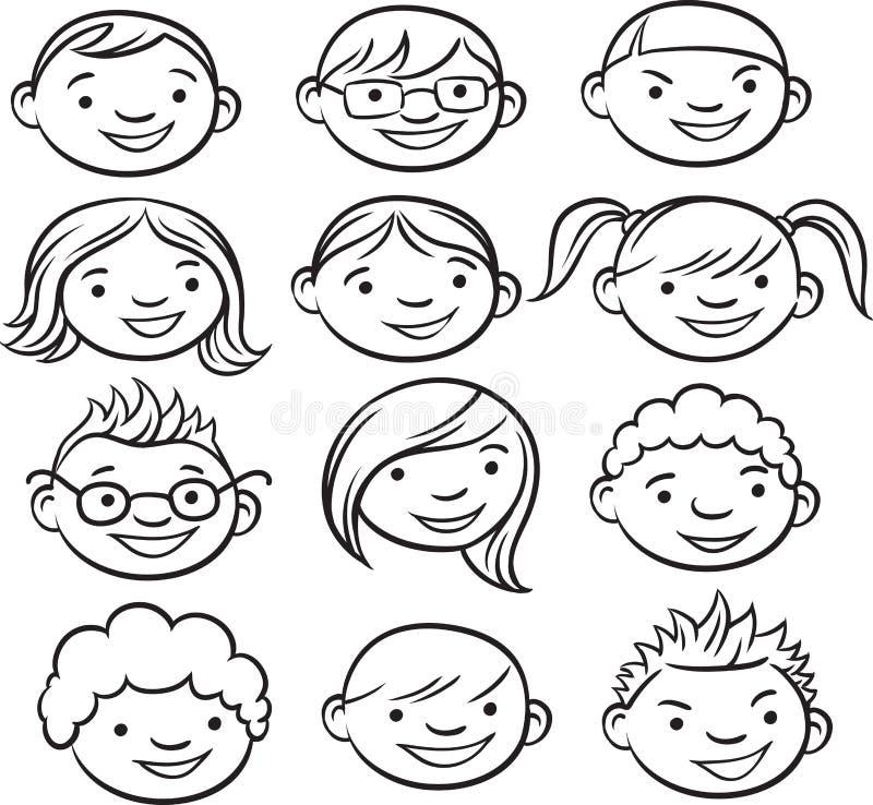 Σχέδιο Whiteboard - πρόσωπα παιδιών χαμόγελου ελεύθερη απεικόνιση δικαιώματος