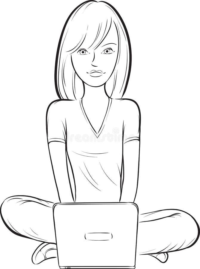 Σχέδιο Whiteboard - συνεδρίαση κοριτσιών στο πάτωμα με το lap-top απεικόνιση αποθεμάτων