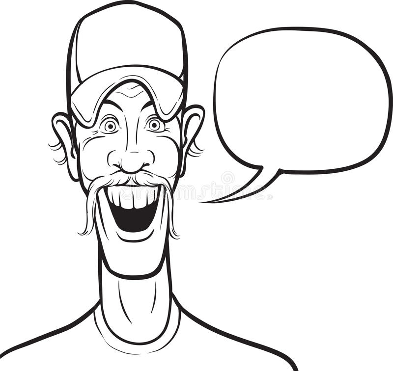 Σχέδιο Whiteboard - χαμογελώντας άτομο κινούμενων σχεδίων στο καπέλο του μπέιζμπολ με τη SP απεικόνιση αποθεμάτων