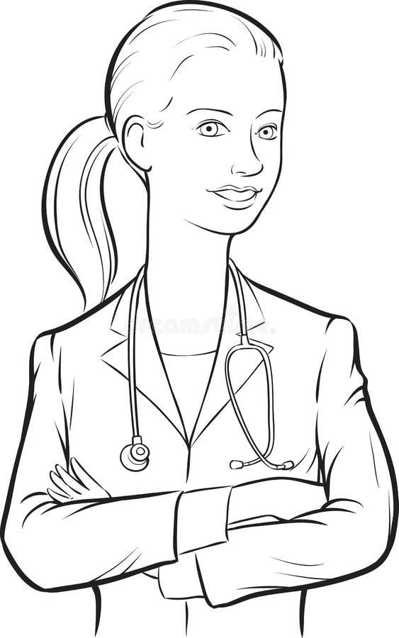 Σχέδιο Whiteboard - χαμογελώντας γιατρός γυναικών με τα όπλα που διασχίζονται απεικόνιση αποθεμάτων