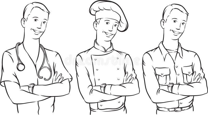 Σχέδιο Whiteboard - όμορφοι αρχιμάγειρας και αγρότης γιατρών διανυσματική απεικόνιση