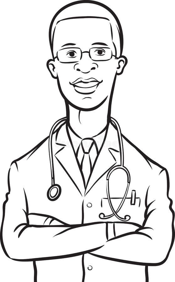 Σχέδιο Whiteboard - όπλα γιατρών αφροαμερικάνων που διασχίζονται ελεύθερη απεικόνιση δικαιώματος
