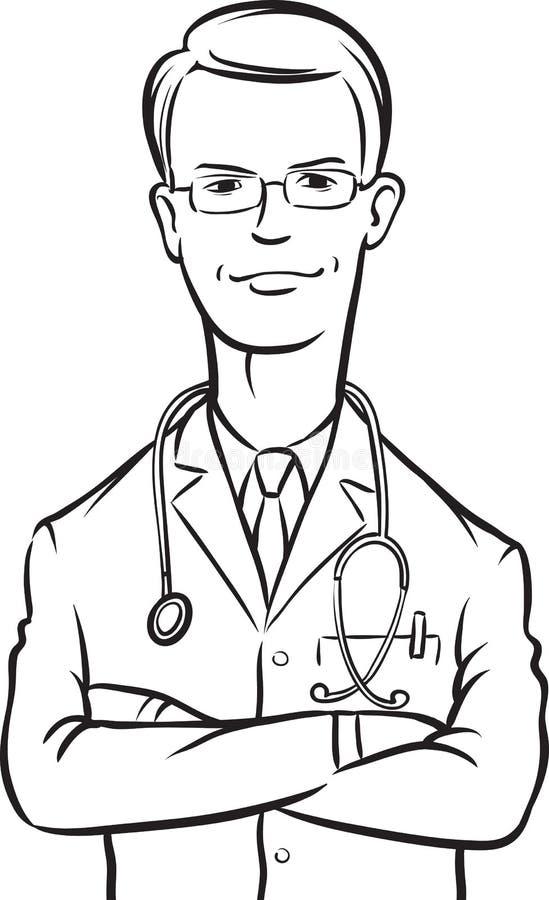 Σχέδιο Whiteboard - όπλα γιατρών που διασχίζονται απεικόνιση αποθεμάτων