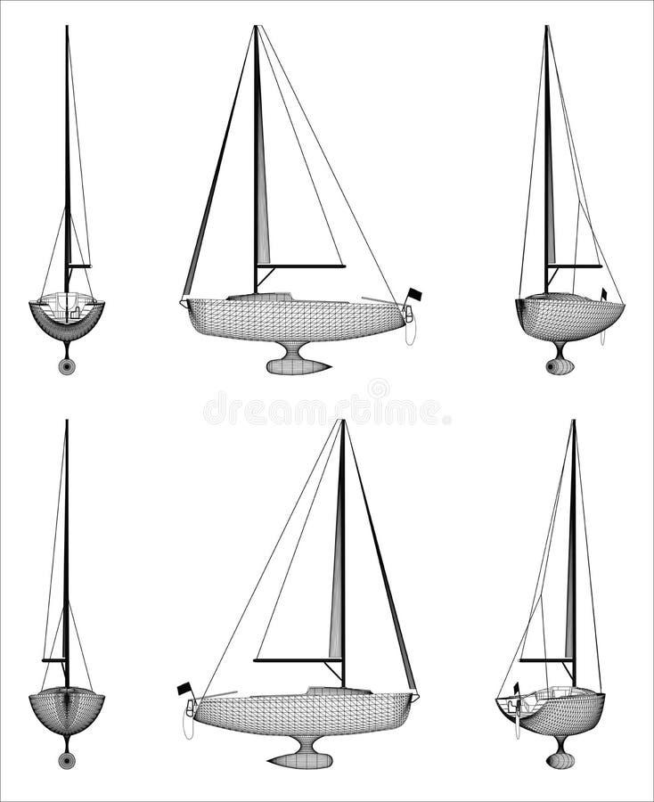 Σχέδιο Wireframe του γιοτ πολυτέλειας διανυσματική απεικόνιση