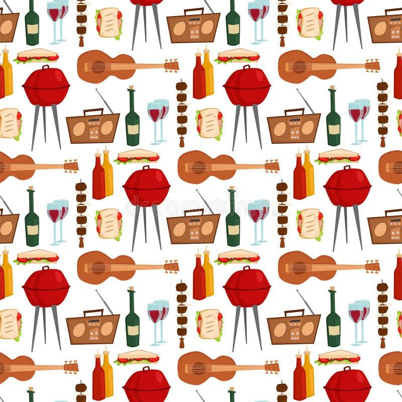 Σχαρών κομμάτων προϊόντων κουζινών υπαίθρια οικογενειακού χρόνου κουζίνας διανυσματική απεικόνιση υποβάθρου σχεδίων μεσημεριανού  ελεύθερη απεικόνιση δικαιώματος