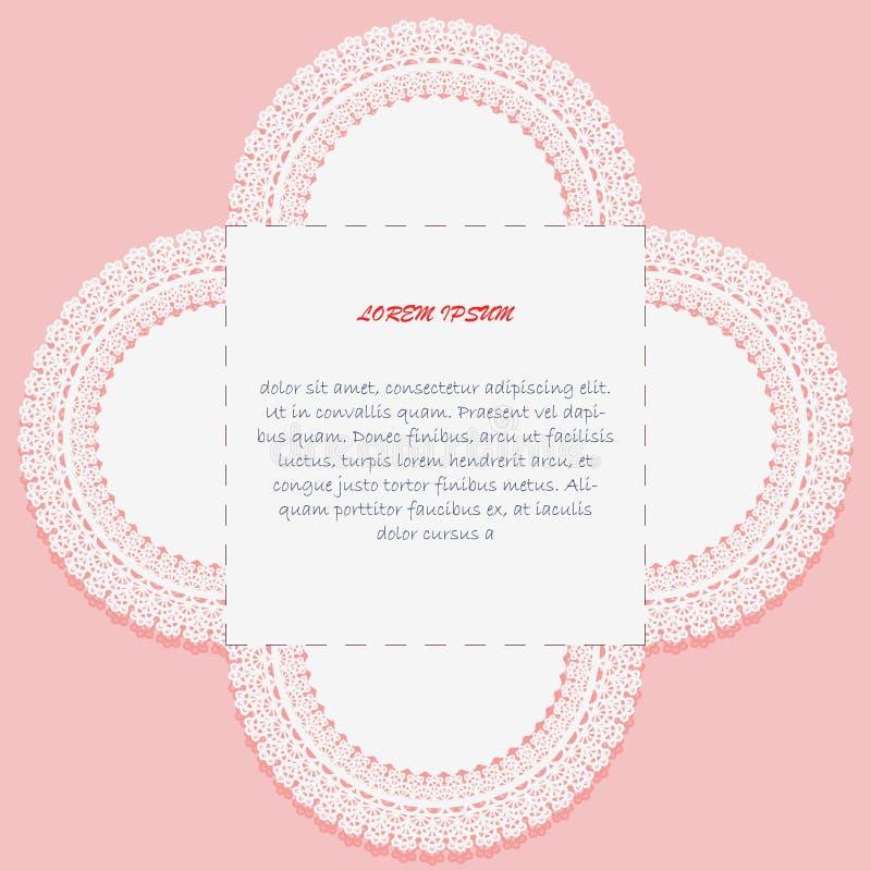 Σχεδίαση για κάρτα πρόσκλησης ή χαιρετισμού με αποκοπή Υπόδειγμα για αποκοπή με λέιζερ Λευκό μοτίβο ιχνογράφησης σε ροζ φόντο ελεύθερη απεικόνιση δικαιώματος