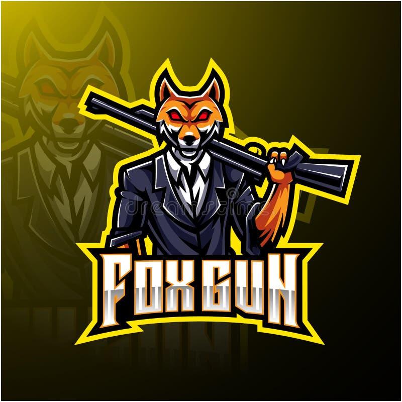 Σχεδίαση λογότυπου Fox gun esport διανυσματική απεικόνιση