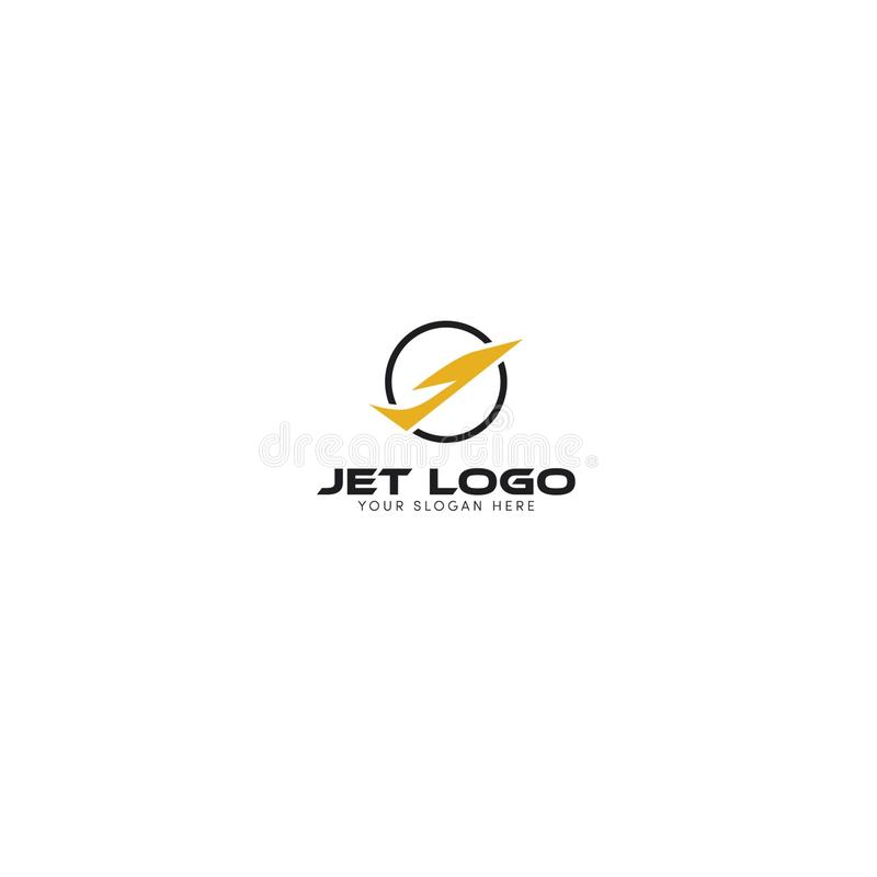 Σχεδίαση λογότυπου Jet με κύκλο και όπως απλό αρχικό J διανυσματική απεικόνιση