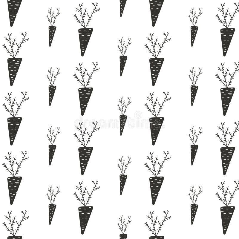 Σχεδίων διακοσμήσεων φθινοπώρου φυτικός κήπος εγκαταστάσεων Αυγούστου καρότων συγκομιδών μαύρος στο άσπρο υπόβαθρο απεικόνιση αποθεμάτων