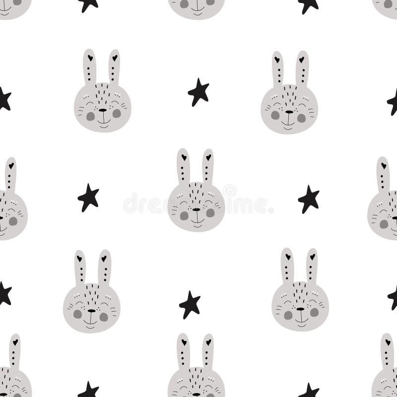 Σχεδίων οι Σκανδιναβικοί παιδιών doodles στοιχείων μονοχρωματικοί λαγοί κουνελιών άγριων ζώων συρμένοι χέρι χαμογελούν τα αστέρια απεικόνιση αποθεμάτων