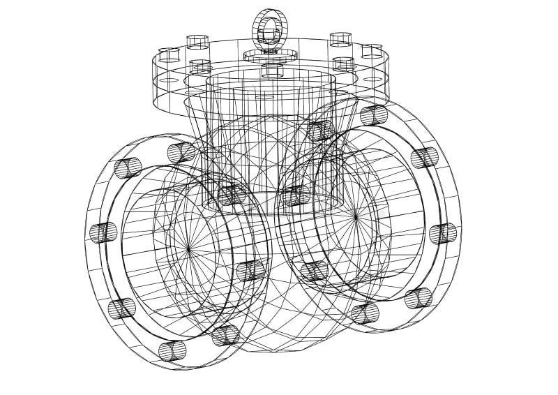 Σχεδιάγραμμα αρχιτεκτόνων βαλβίδων διανυσματική απεικόνιση