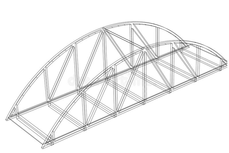 Σχεδιάγραμμα αρχιτεκτόνων γεφυρών - που απομονώνεται απεικόνιση αποθεμάτων