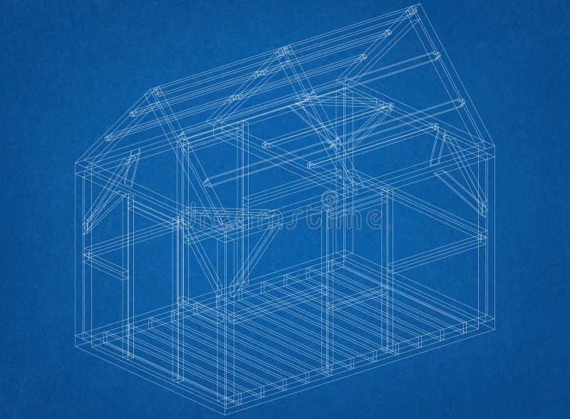 Σχεδιάγραμμα αρχιτεκτόνων κατασκευής σπιτιών ελεύθερη απεικόνιση δικαιώματος