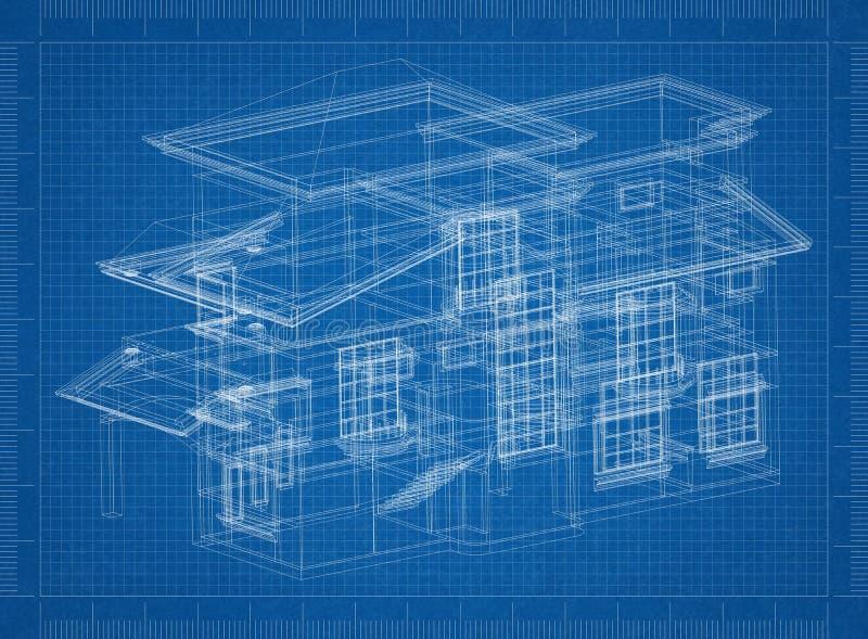 Σχεδιάγραμμα αρχιτεκτόνων σπιτιών ελεύθερη απεικόνιση δικαιώματος