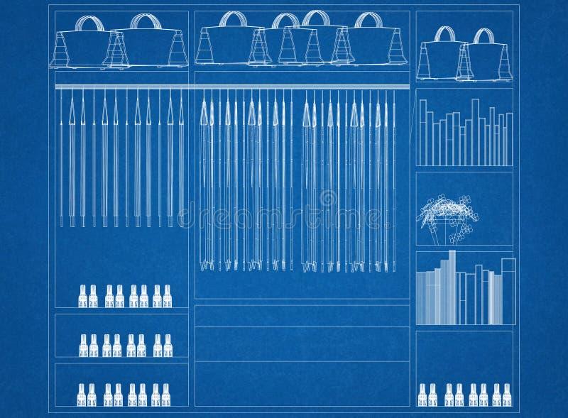 Σχεδιάγραμμα αρχιτεκτόνων σχεδίου διοργανωτών ντουλαπιών διανυσματική απεικόνιση