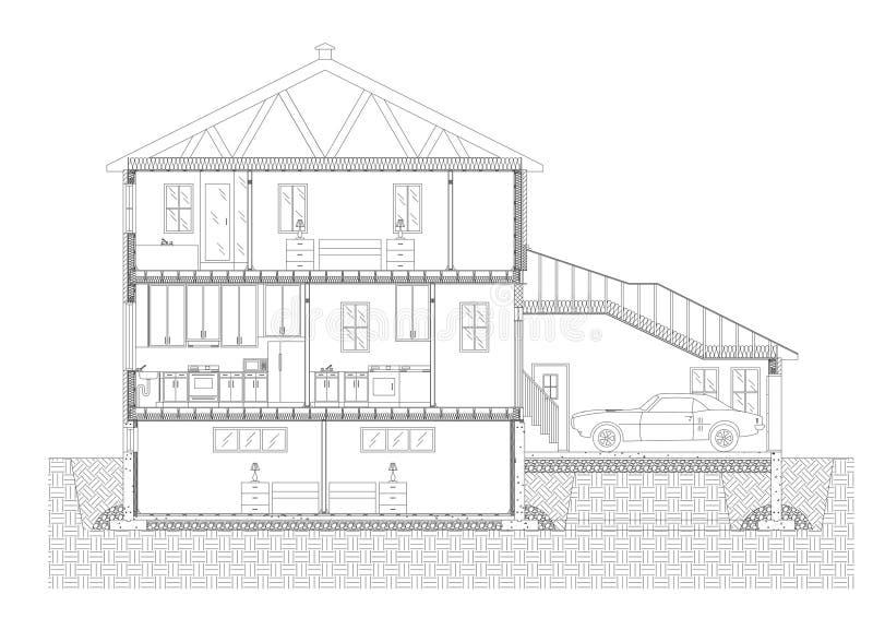 Σχεδιάγραμμα αρχιτεκτόνων σχεδίων σπιτιών - που απομονώνεται ελεύθερη απεικόνιση δικαιώματος