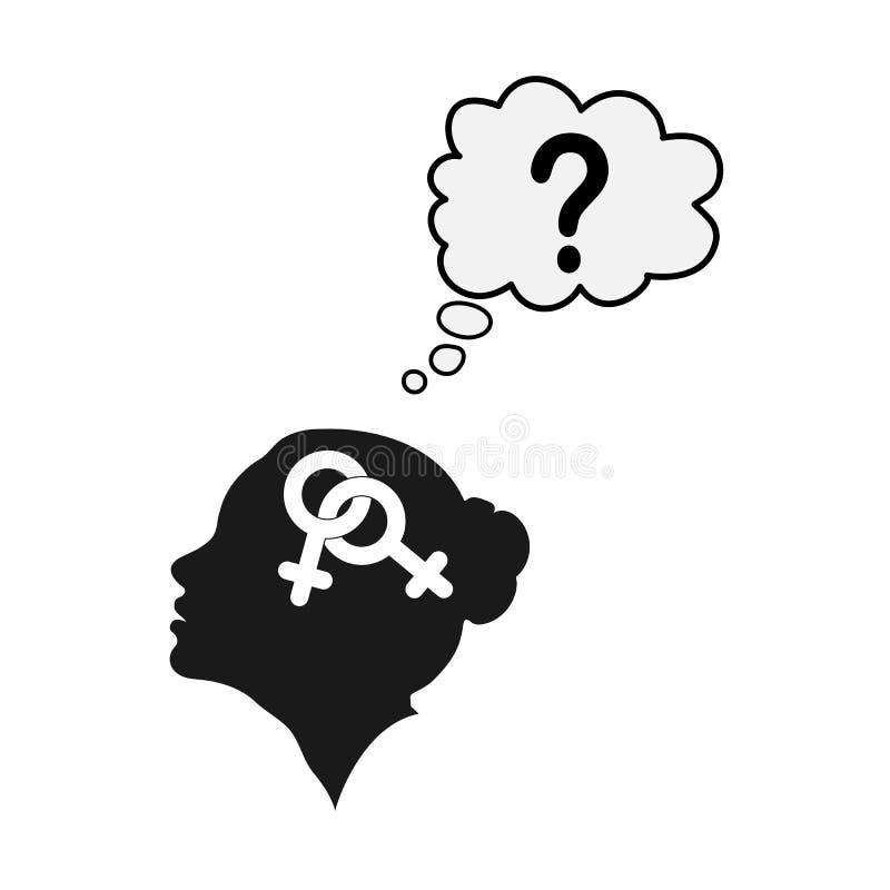Σχεδιάγραμμα ενός θηλυκού κεφαλιού με το σύμβολο του bigender και ενός ερωτηματικού διανυσματική απεικόνιση