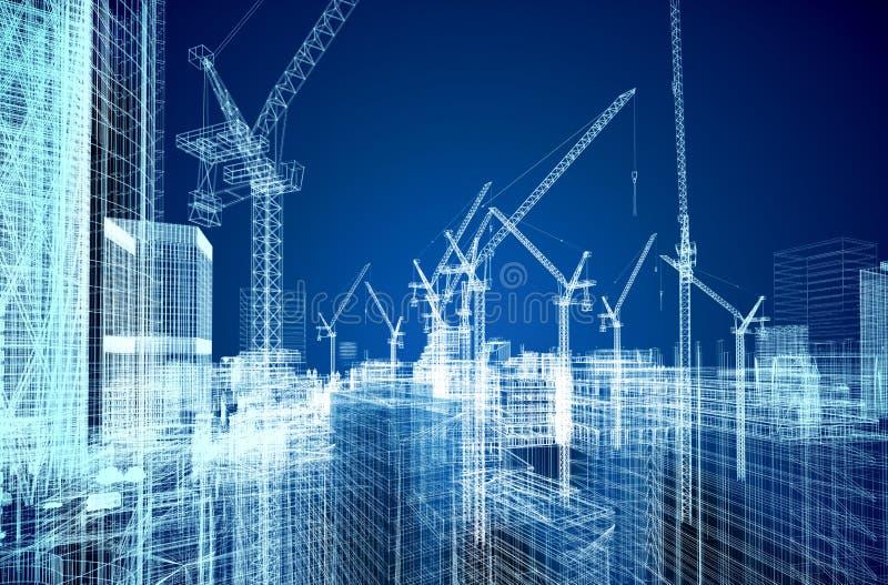 Σχεδιάγραμμα εργοτάξιων οικοδομής απεικόνιση αποθεμάτων