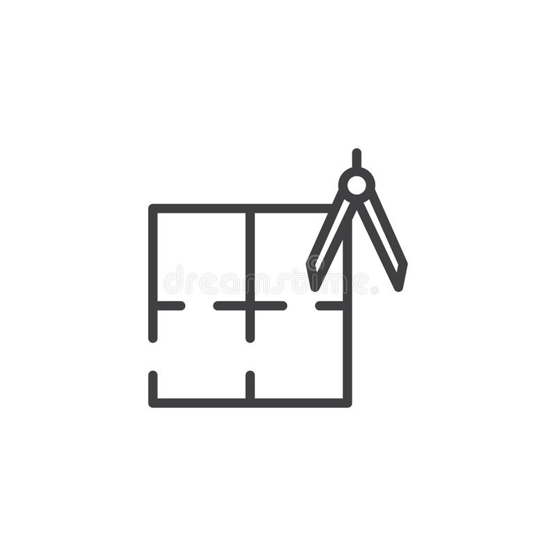 Σχεδιάγραμμα και εικονίδιο περιλήψεων πυξίδων αρχιτεκτονικής απεικόνιση αποθεμάτων