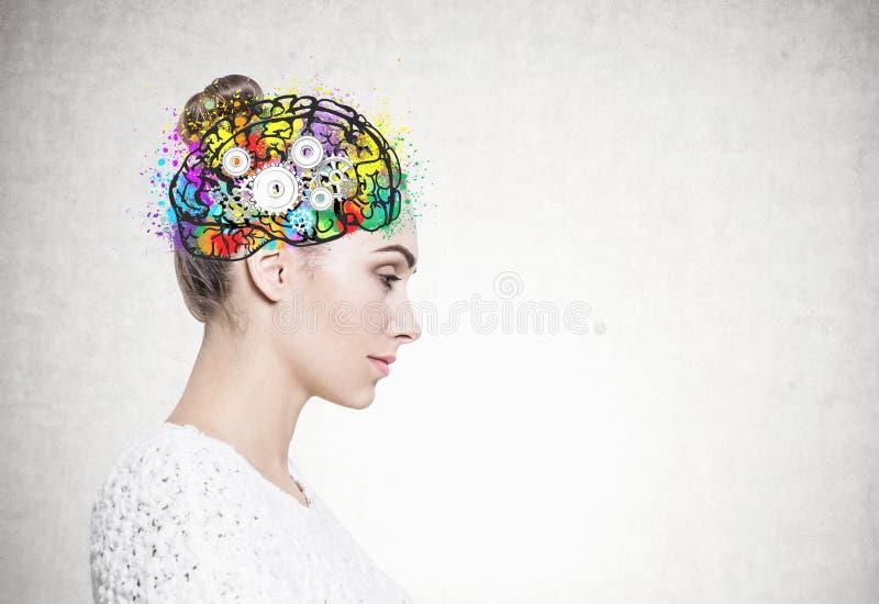 Σχεδιάγραμμα μιας ήρεμης γυναίκας στο λευκό, εγκέφαλος βαραίνω στοκ εικόνες