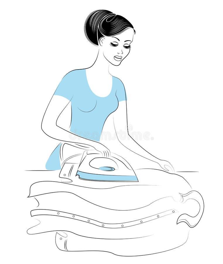 Σχεδιάγραμμα μιας καλής κυρίας Το κορίτσι κρατά το σίδηρο και σιδερώνει το ανθρώπινο πουκάμισο Μια γυναίκα είναι καλή σύζυγος και διανυσματική απεικόνιση